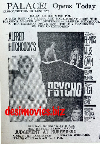 Psycho (1960) Press Advert (1967)
