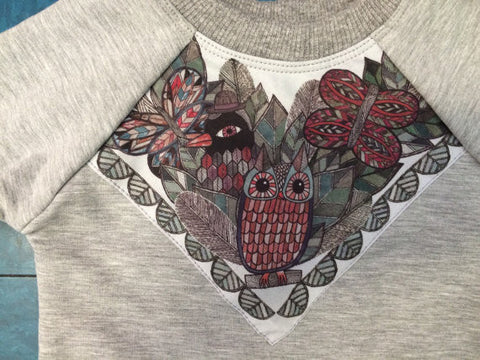 Owl Print Fleece Sweatshirt