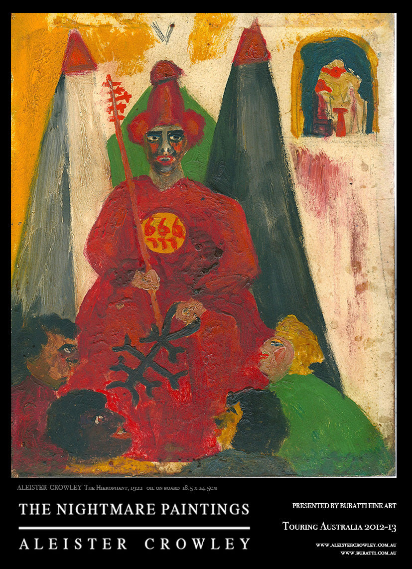 Aleister Crowley / The Hierophant - The Nightmare Paintings - rare exhibition poster
