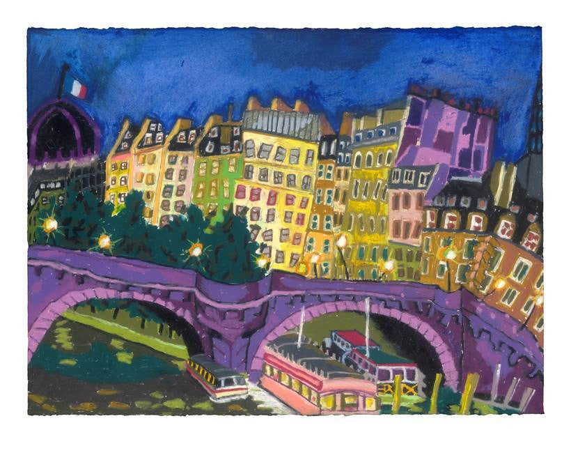 Bernard Ollis- Pont Neuf at Night 31x42