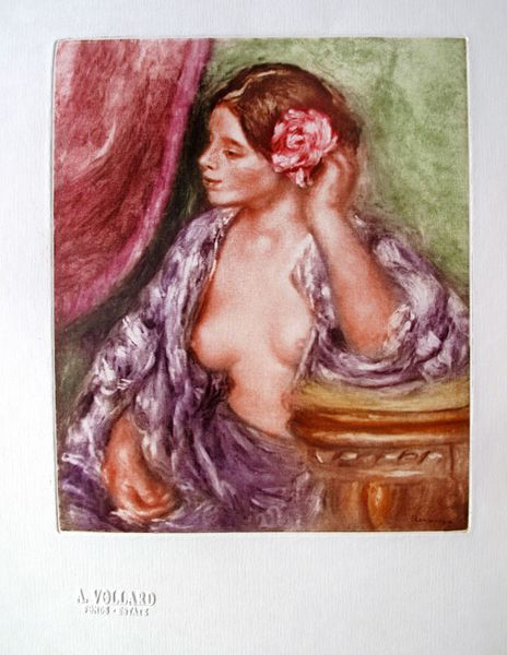 PIERRE AUGUSTE RENOIR (French 1841-1919) - Lady with Rose (hand coloured) 1919