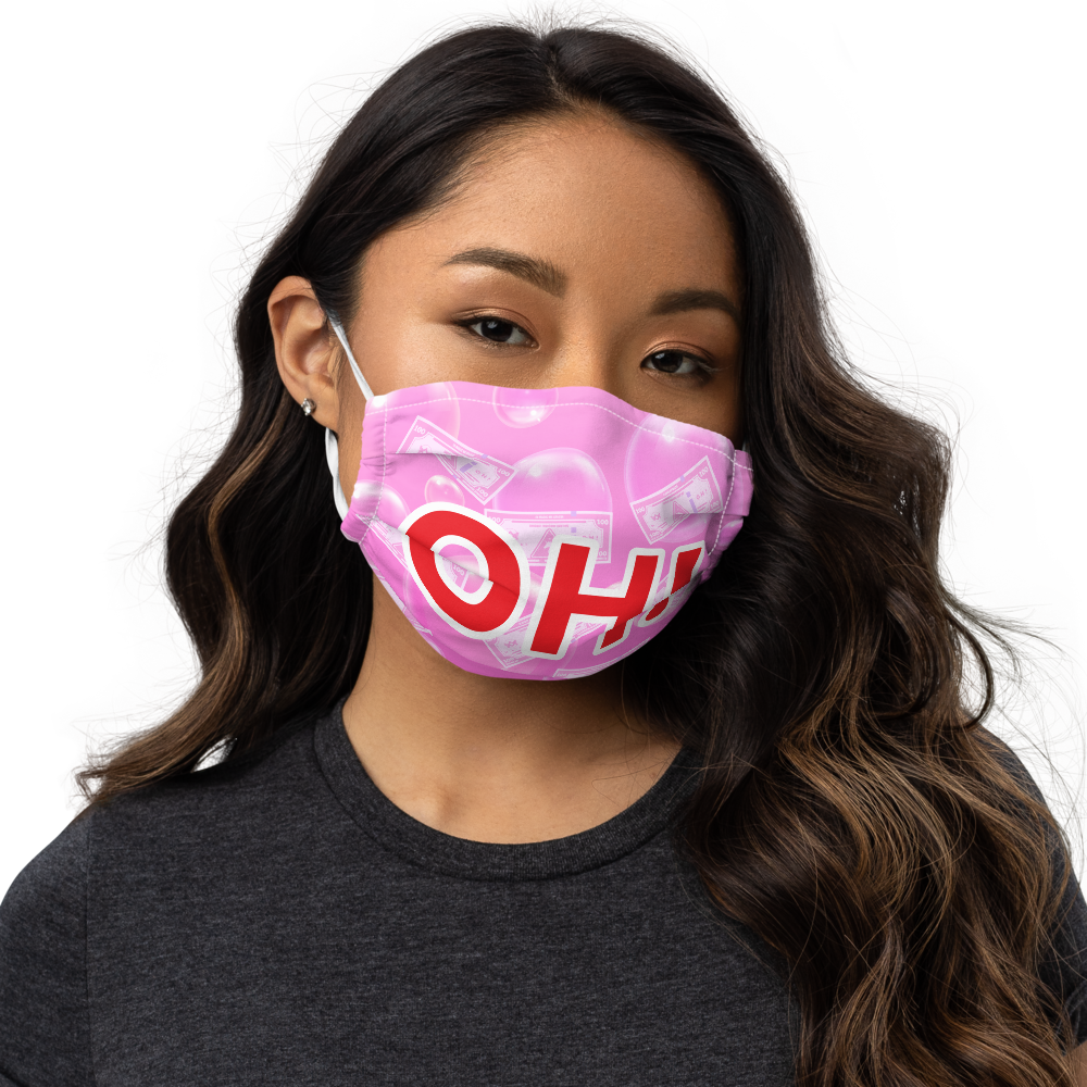 OH! Face mask - Pink / Red text