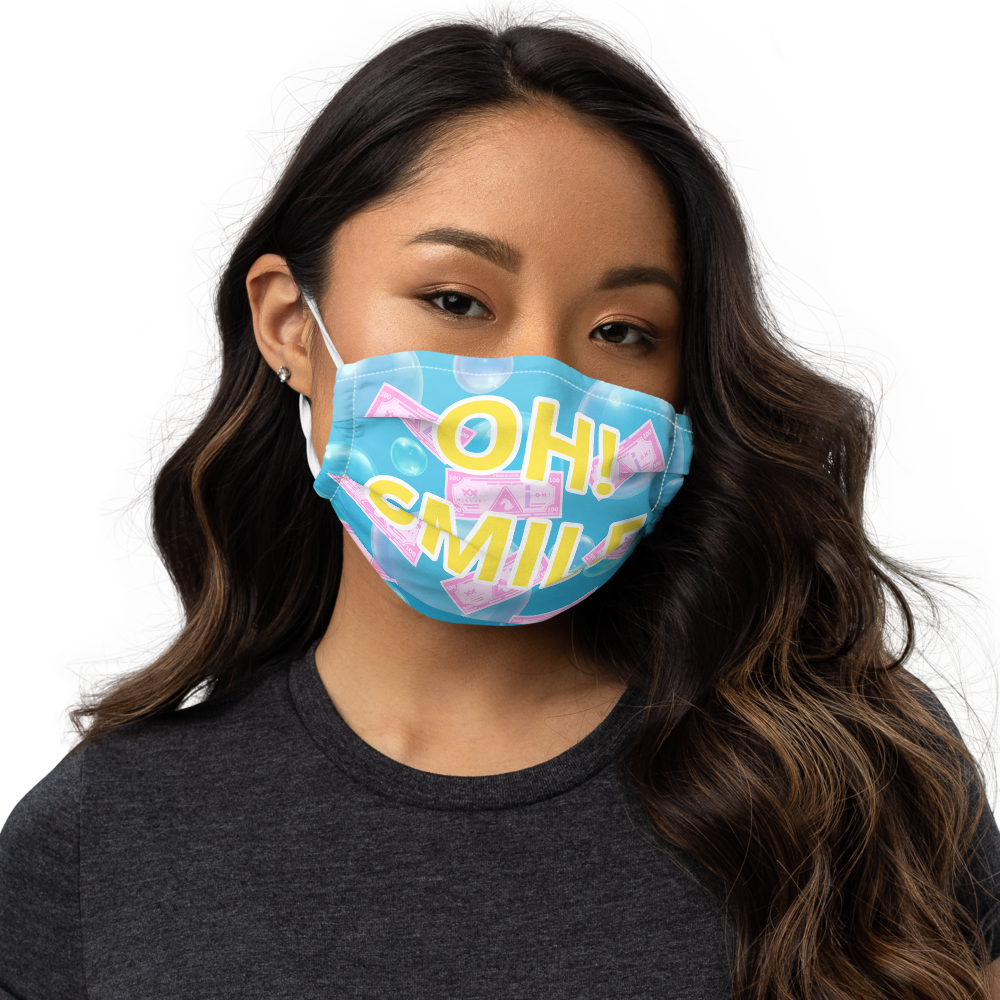 OH! Smile Face mask - Blue / Yellow text