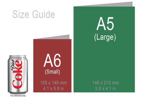 Size Guide for greeting Cards