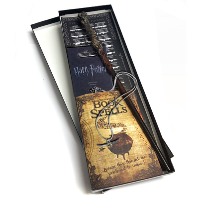 Official Harry Potter Golden Snitch Necklace+ Full Spell Book + Magical Wand