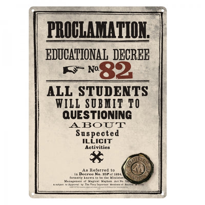 "Harry Potter Metal Sign ""Educational Decree #82"""
