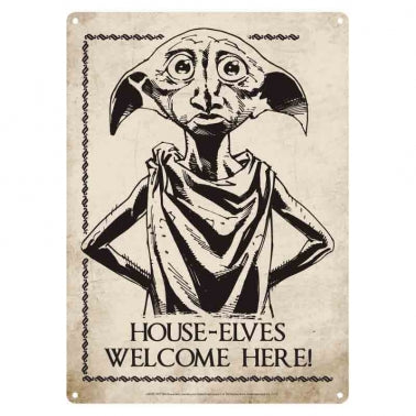 "Harry Potter Dobby Metal Sign ""House-Elves Welcome Here"""