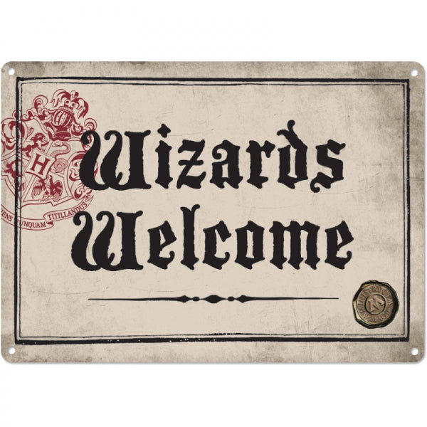 "Harry Potter Metal Sign ""Wizards Welcome"""
