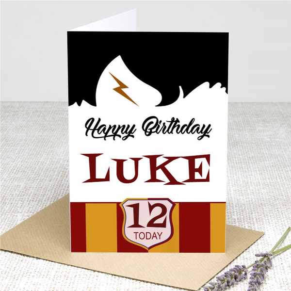 (Personalised) Boy Wizard Happy Birthday card