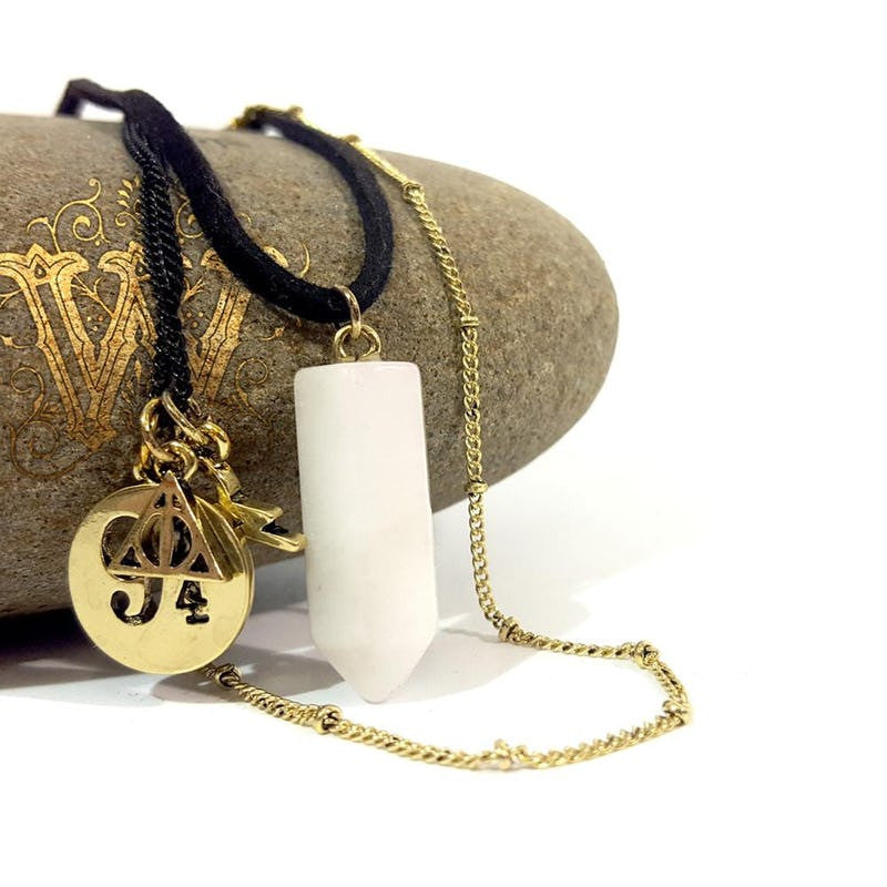 Harry Potter Quartz Crystal Tri-Necklace with HP Charms Jewellery £9.99 Wizarding Wares