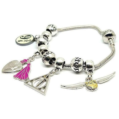 ( Love Potion, Deathly Hallows, Snitch & Platform 9¾ + Spells ) Harry Potter Charm Bracelet
