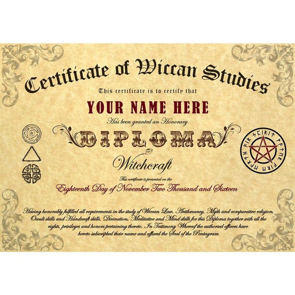 Personalised Pagan/Wiccan Certificate Personalised Products £9.99 Wizarding Wares