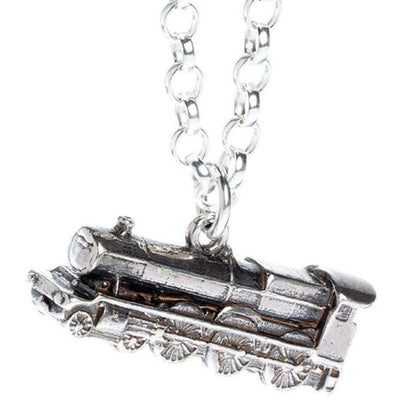 ( The Hogwarts Express Train ) Harry Potter Solid Sterling (925) Silver Necklace