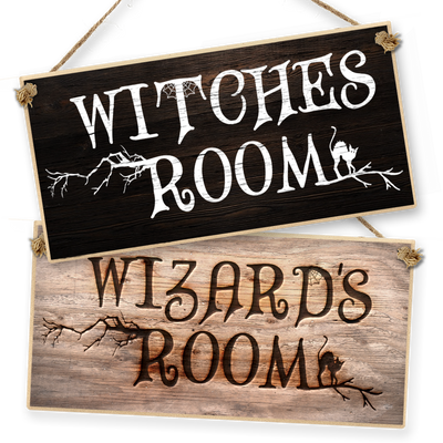"Witchcraft and Wizardry Hanging Sign ""Witch or Wizard Room"""