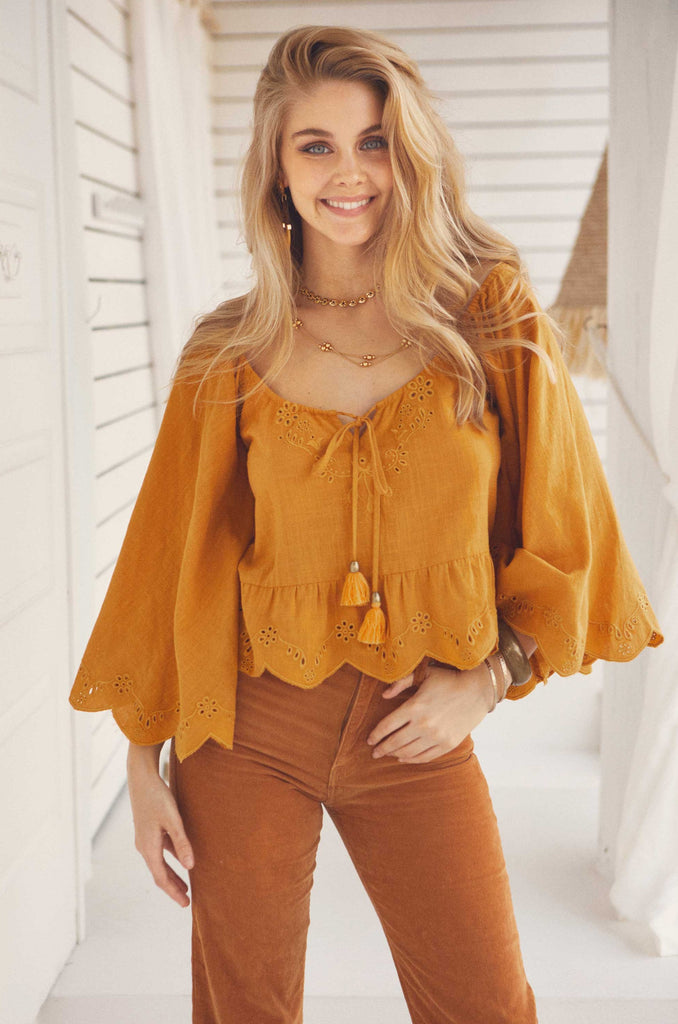 Eden top in mustard