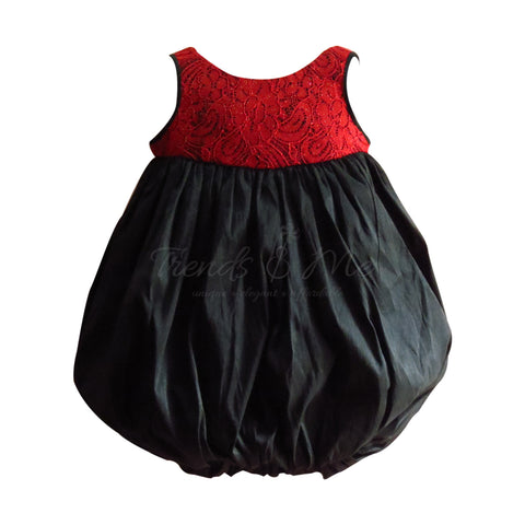 Black and Red Balloon Dress