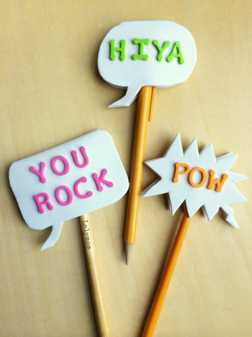 Back to School Crafts-Conversation Bubble Pencil Toppers