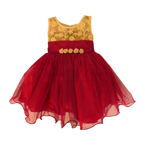 Golden Brocade Yoke with Wine Red Tulle Skirt