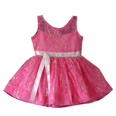 Onion Pink Self Embroidered Net Dress