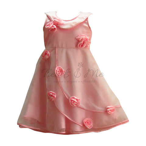 Pink Net with Satin Lining with Satin Handmade Flowers