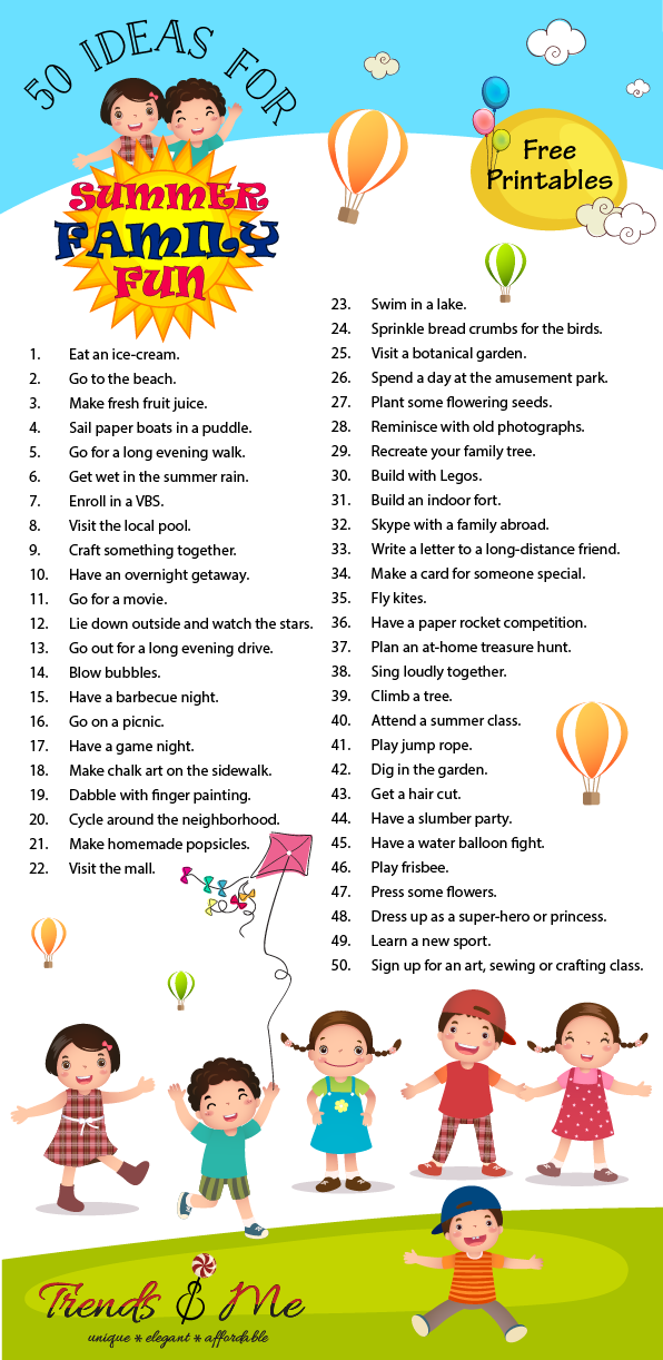 50 Summer Family Fun Activities with Free Printables