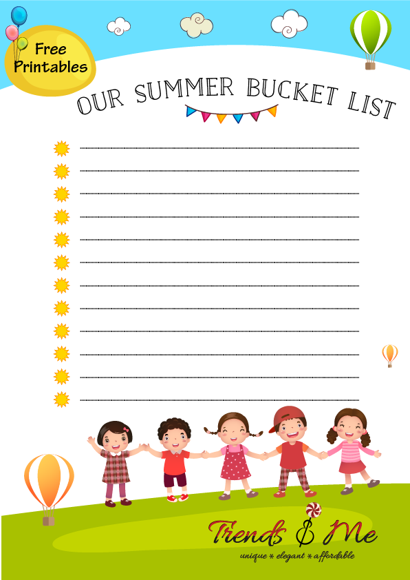 Free Printable - Summer Bucket List