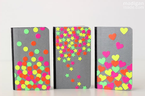 Easy Neon Confetti Notebook Crafts
