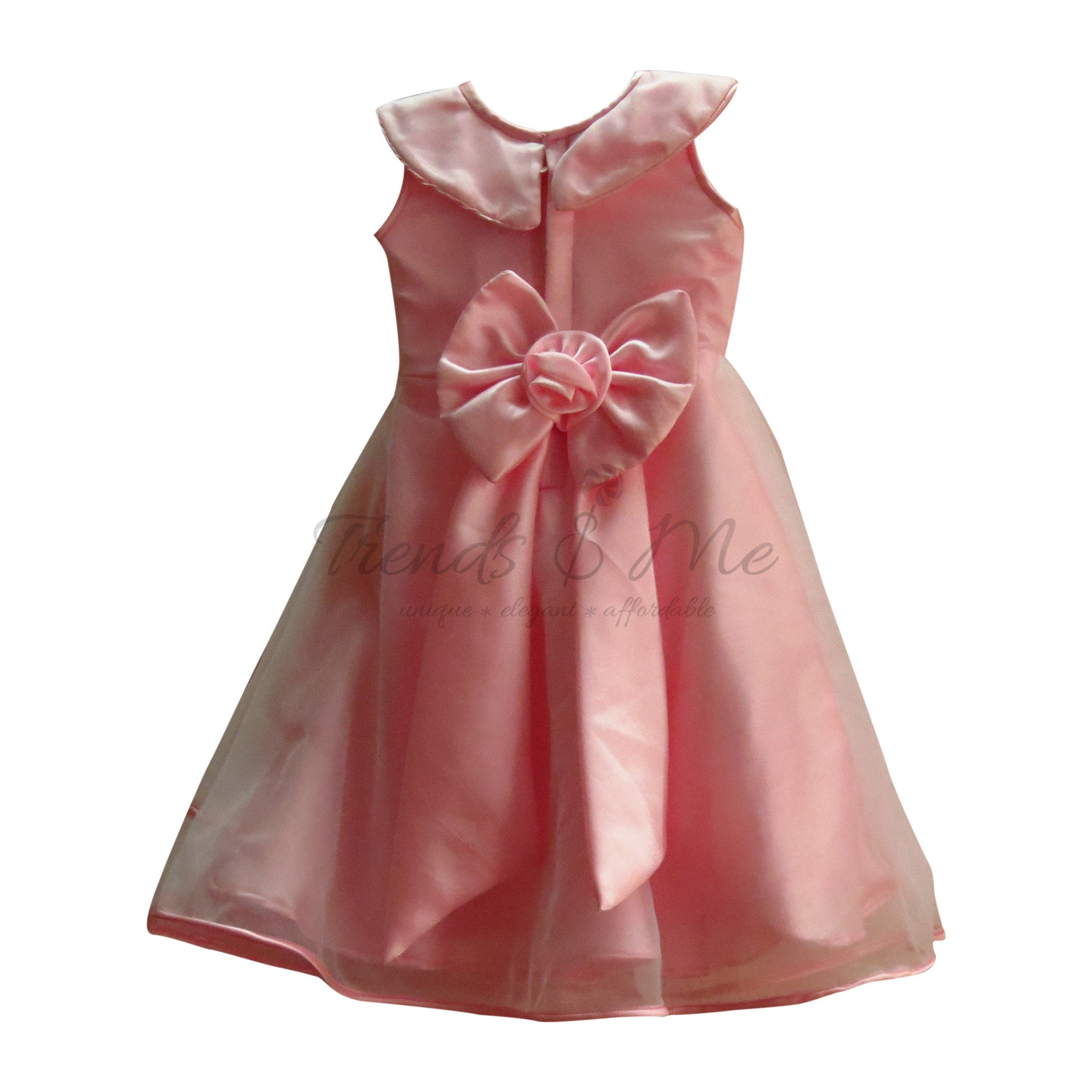 d1faca086 Pink Net Dress with Satin Lining and Handmade Flowers - Trends and Me