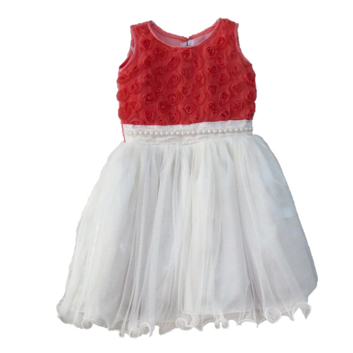 08d53af08 White Net Dress With Pink Rosette Yoke And Pearl Beads Waist Band ...
