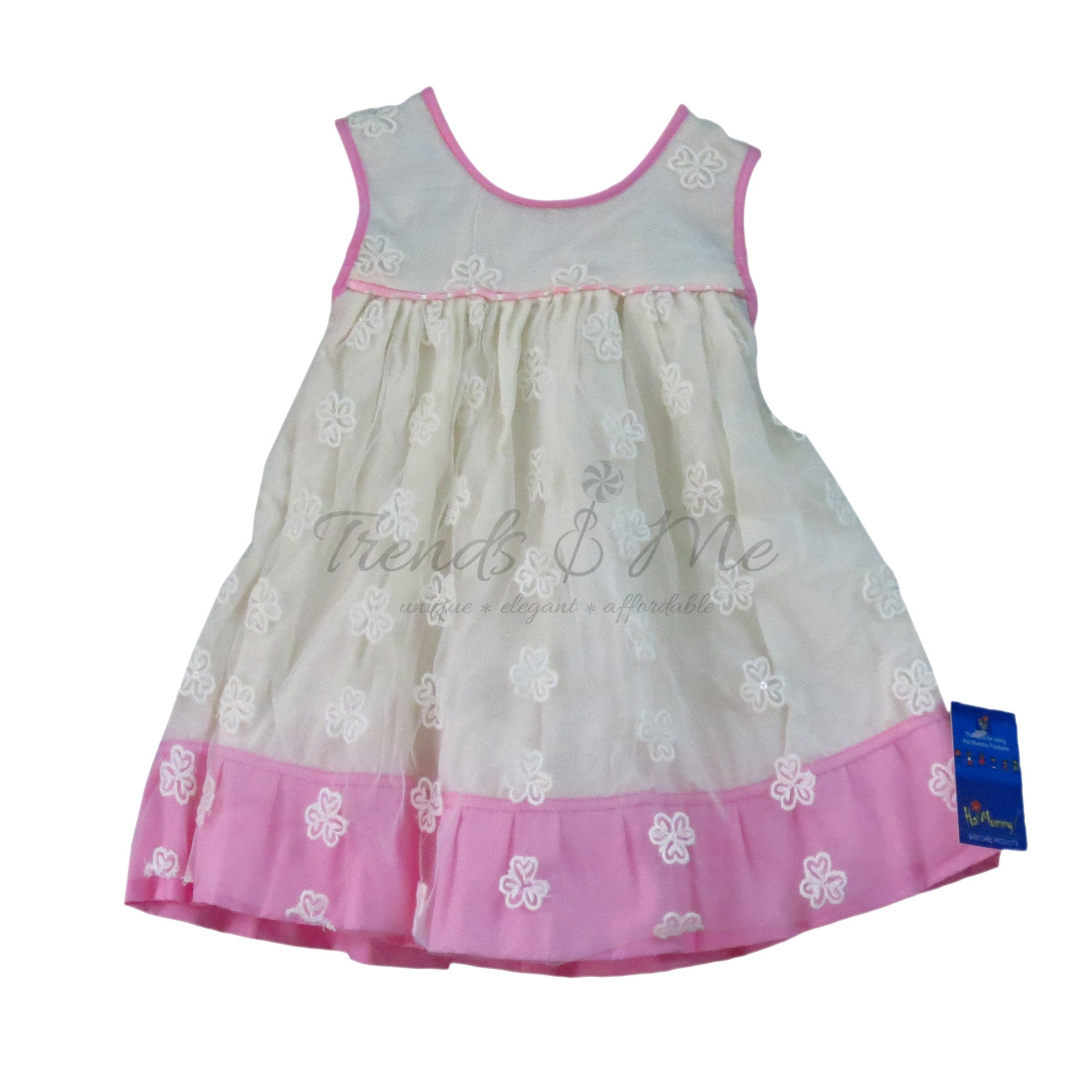 969d63a6 White Self Embroidered Net Dress With Pink Satin Ribbon Piping Yoke - Trends  and Me