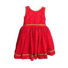 1abf43019 Coral Red Embroidered Net Dress - Trends and Me