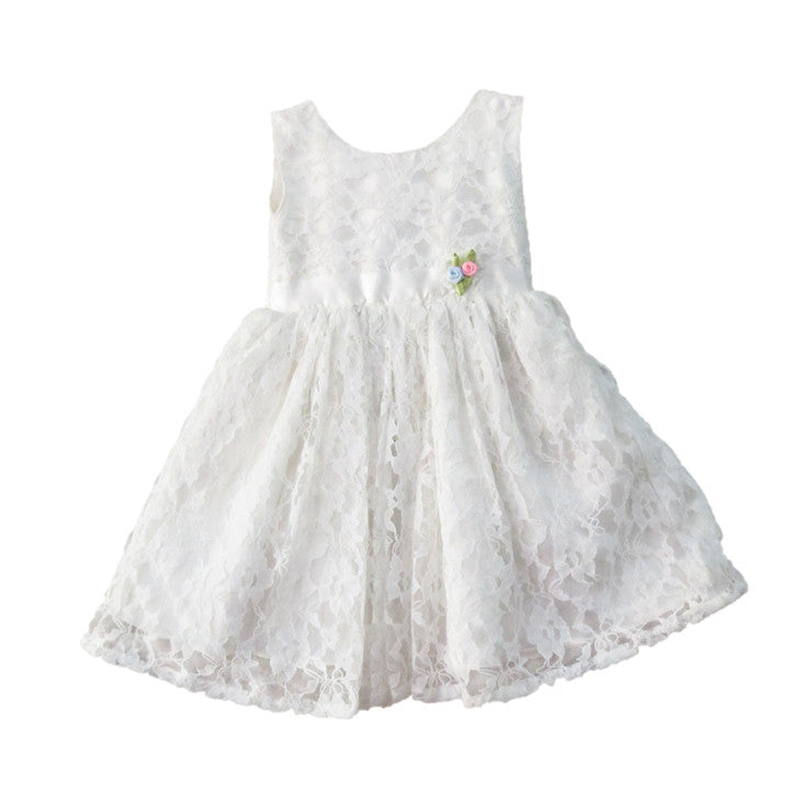 2d226ff42 Off White Self Embroidered Net Dress - Trends and Me