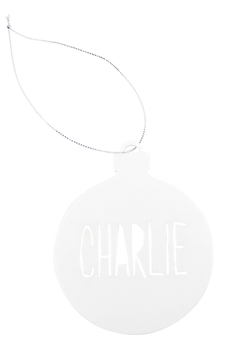 White perspex customised Christmas bauble