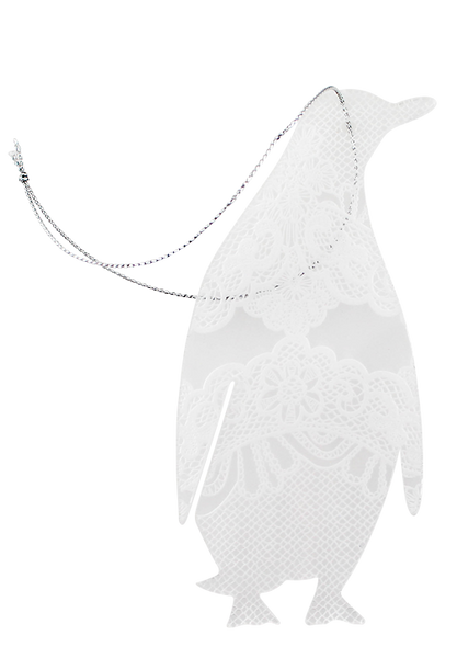 Lace perspex Christmas penguin