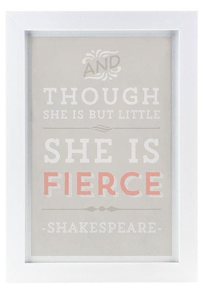 """She is Fierce"" Framed Artwork - Grey & Coral Edition"