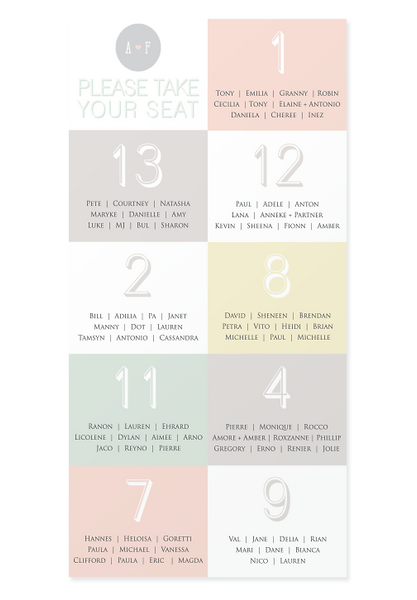 Adoration Seating Chart Canvas