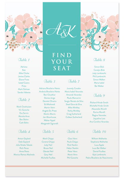Adriana Seating Chart - Turquoise