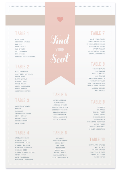 Maia Seating Chart - Pastels