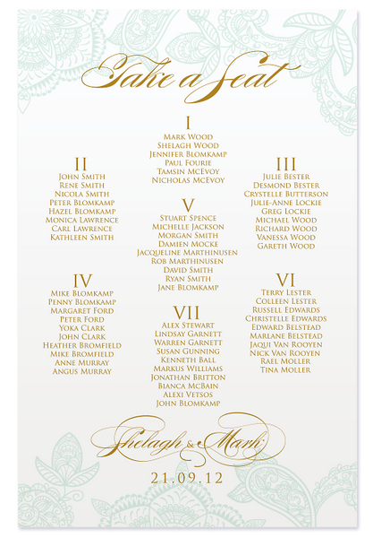Paisley Luxe Seating Chart - Mint & Gold