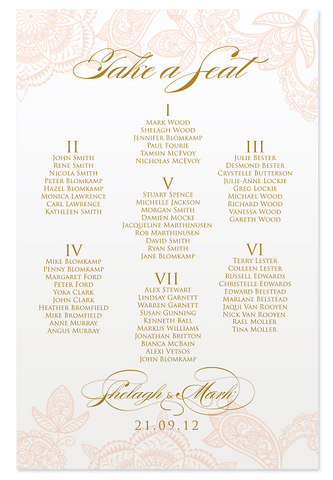 Paisley Luxe Seating Chart - Peach & Gold