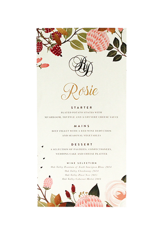 Cassis Fleur Menu and Place Card