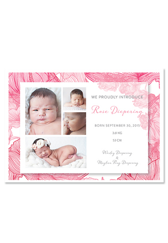 Baby Rose Digital Birth Announcement