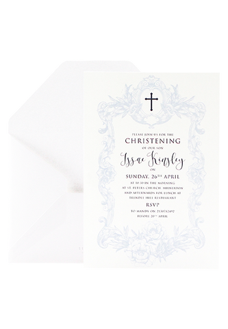 Pure Of Heart Christening Invitation - Blue