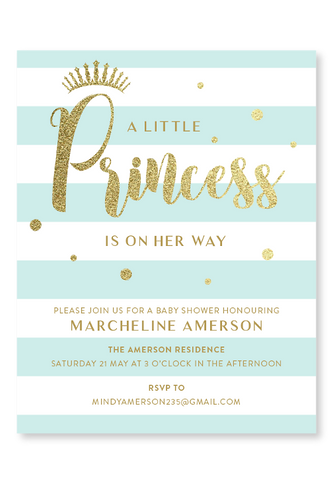 A Little Princess Invitation - Mint
