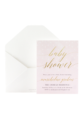 Glitter Showers Invitation - Pink