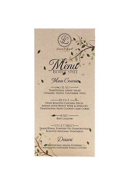 Autumn Menu Card