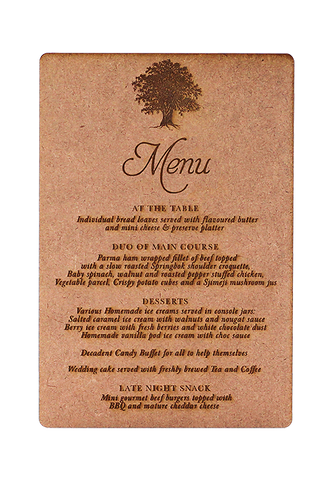 Old Oak Menu