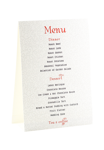 A Touch Of Red Menu