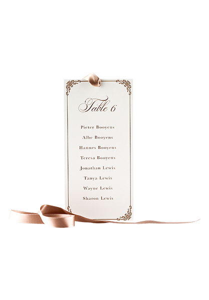 Bronze Seating Chart Card