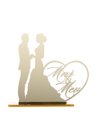 Mr & Mrs Cake Topper - Gold